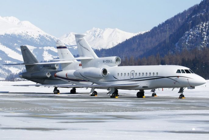 Private jets at skiing location