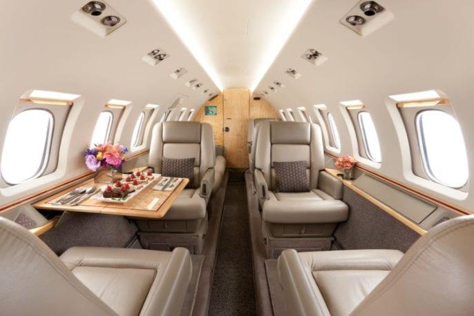 Hawker 1000 cabin interior
